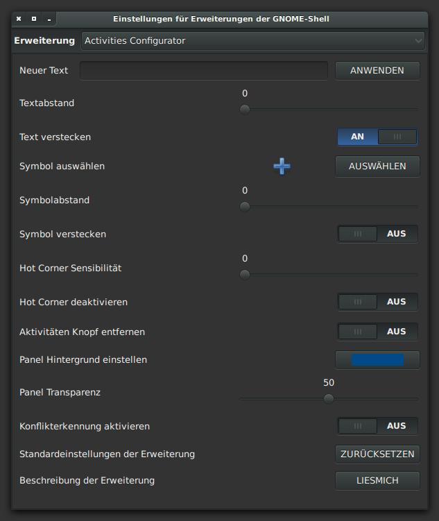 Activities Configurator – Aktivitäten Konfigurator Übersetzung
