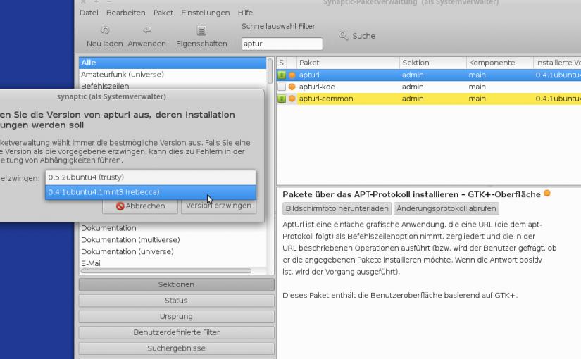 Apturl startet nicht mehr in Linux Mint